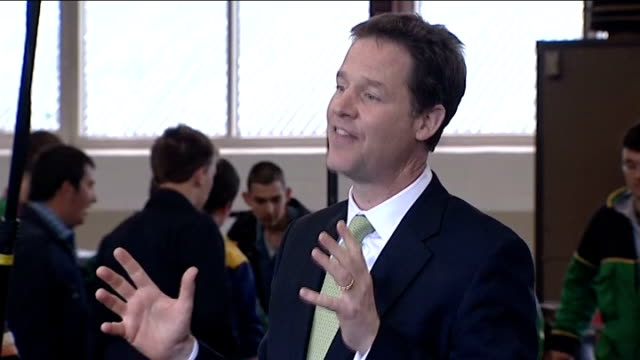 general election 2010: campaigning continues: nick clegg q&a in chippenham; nick clegg mp q&a sot - on the structural deficit in the economy / on... - チッペナム点の映像素材/bロール