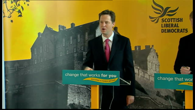 clegg press conference in edinburgh clegg speech sot on armed forces the leaders debate last week showed the other parties are stuck in the past... - trident stock videos & royalty-free footage