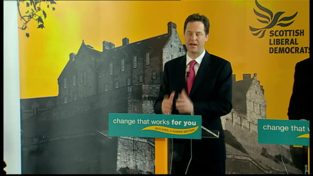 clegg press conference in edinburgh clegg speech sot those cuts include dramatic change at the ministry of defence / we have highest ratio of... - 不公平点の映像素材/bロール