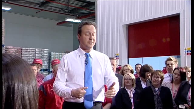 Conservative David Cameron speech at Coca Cola Enterprises ENGLAND West Yorkshire Wakefield INT David Cameron interview SOT Thank you for giving me...