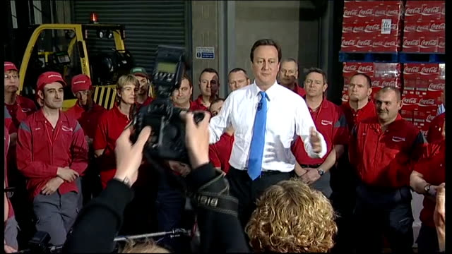 Conservative David Cameron speech at Coca Cola Enterprises Q you've given up on Lib Dem seats and now relying on Calvert Cameron SOT I want to win...