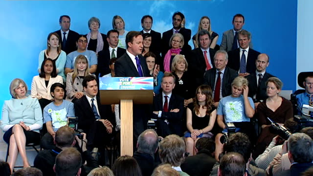 general election 2010: conservative manifesto launch: cameron q&a press conference; david cameron mp press conference q&a session sot - evidence is... - all around competition stock videos & royalty-free footage