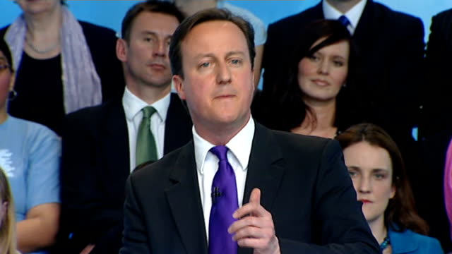 conservative manifesto launch cameron qa press conference cameron speech sot there is a real choice on our society too / labour way is more big... - monopoly chance stock videos & royalty-free footage