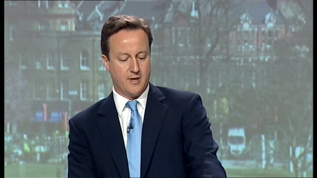 general election 2010: conservatives launch green manifesto; england: london: int david cameron mp speech sot - the central questions at this... - 6 11 months stock videos & royalty-free footage