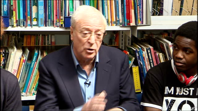 general election 2010: david cameron and sir michael caine meet youngsters who took part in pilot youth scheme; sir michael caine speaking sot - i... - 俳優 マイケル・ケイン点の映像素材/bロール