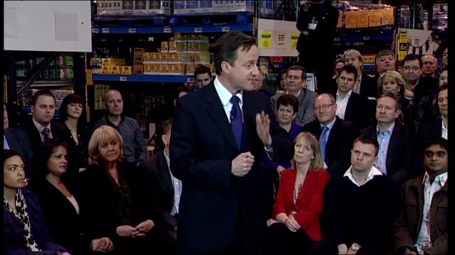 general election 2010: david cameron at cash and carry in cardiff; david cameron addressing group sot - thanks people for coming - economy is key... - cut video transition stock videos & royalty-free footage