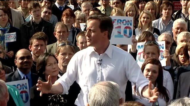 general election 2010: david cameron rally at marston's brewery; david cameron speech continued sot - does anyone believe one more law will crack... - only young men stock videos & royalty-free footage