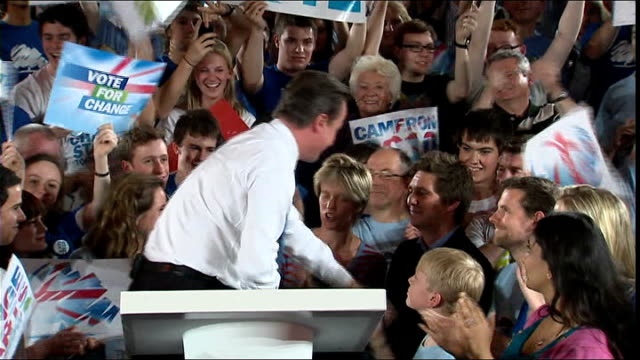 general election 2010: david cameron speech in bristol; *music heard over following * david cameron down from podium - shaking hands with cheering... - roxy music stock videos & royalty-free footage