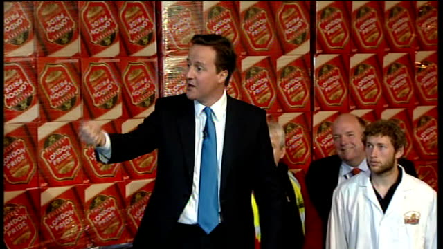 david cameron visits fuller's brewery in chiswick i haven't yet found a drink i don't like i tend to drink bitter i drink london pride but i have... - world's strongest man stock videos and b-roll footage