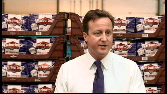 2010 david david cameron speaks to workers at warburtons bakery in bolton david cameron mp speech sot you shouldn't have to pay more taxes to pay for... - cut video transition stock videos & royalty-free footage