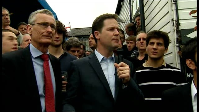 final weekend of campaigning clegg campaigns in malvern question on an eu referendum sot clegg answer sot calls for a referendum on whether we stay... - prisoner education stock videos & royalty-free footage