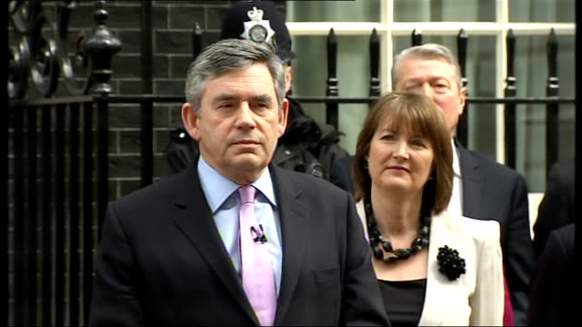 general election 2010: gordon brown downing street statement; gordon brown mp out of number 10 and making statement to press sot - it will come as no... - economy class stock videos & royalty-free footage