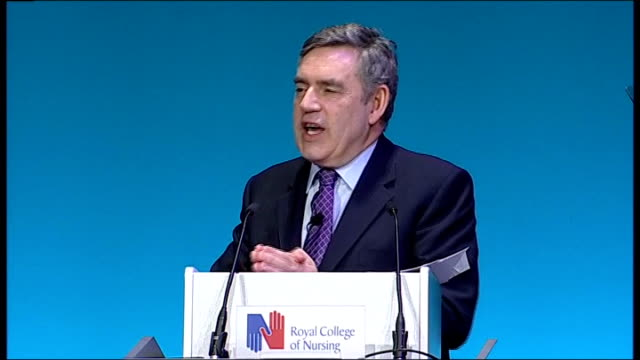 stockvideo's en b-roll-footage met gordon brown giving speech to royal college of nursing brown speech sot to make the nhs safe i made the decision as chancellor to double investment... - lesley garrett