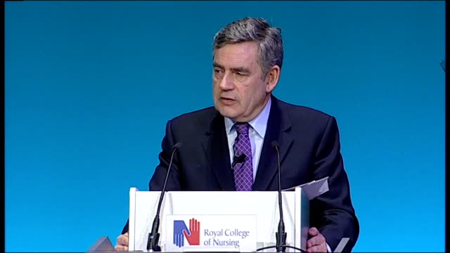 general election 2010: gordon brown giving speech to royal college of nursing; brown speech sot - across our nhs we want to support you in providing... - 甥点の映像素材/bロール