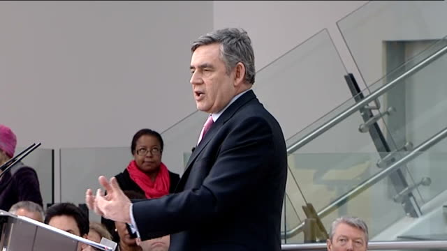 gordon brown launches labour manifesto brown responds to gary gibbon question about the vat increase and the deficit sot deficit reduction plan was... - war in afghanistan: 2001 present stock-videos und b-roll-filmmaterial