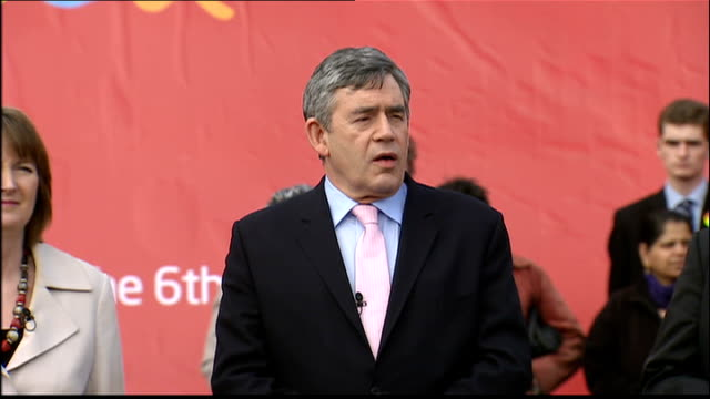 general election 2010: gordon brown poster launch in hockley; gordon brown speech sot - time for debate has finished/ time for decision has begin/... - double bed stock videos & royalty-free footage