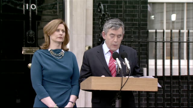 general election 2010: gordon brown resignation statement as prime minister; england: london: downing street: ext gordon brown out of no.109 with... - human face video stock e b–roll