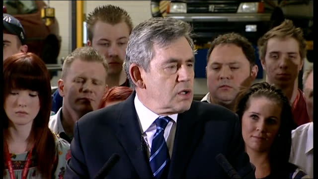 general election 2010: gordon brown speech at city college coventry; gordon brown speech continues sot - of all the big calls: northern rock,... - modern rock stock videos & royalty-free footage