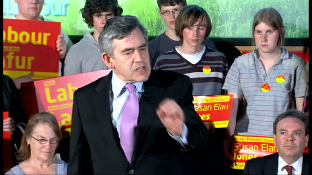 general election 2010: gordon brown speech at wrexham university; gordon brown speech continues sot - it's employment with labour but we know, from... - beneficiary stock videos & royalty-free footage