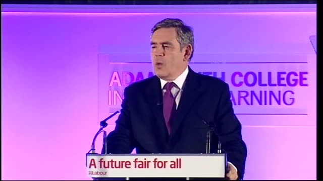 general election 2010: gordon brown speech in kirkcaldy; brown speech sot - so we have an ambitious and progressive plan for national renewal, and... - big tech stock videos & royalty-free footage