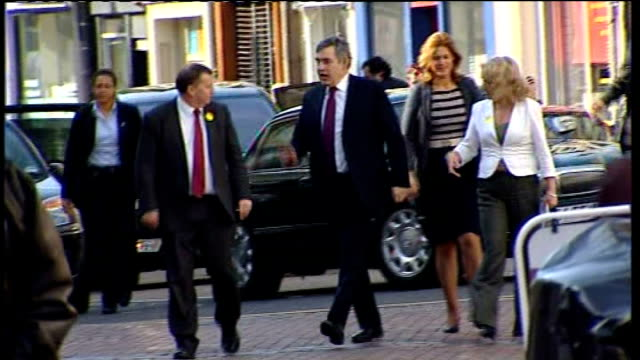 gordon brown walkabout in kirkcaldy scotland fife kirkcaldy adam smith college ext gordon brown mp and his wife sarah brown along shopping street and... - gordon brown stock videos & royalty-free footage