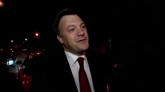 general election 2010: hung parliament: ed balls interview on liberal democrat / labour negotiations; england: london: ext/night ed balls mp out of... - cabinet member stock videos & royalty-free footage