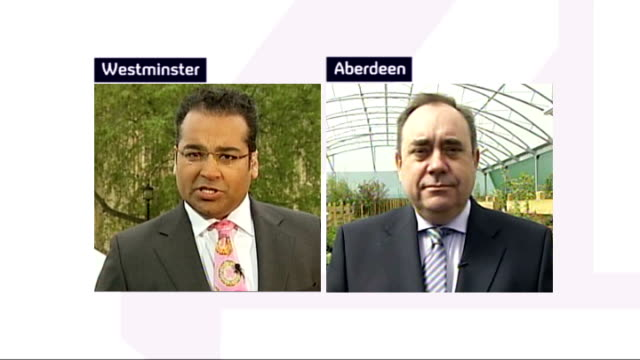 stockvideo's en b-roll-footage met general election 2010: hung parliament: fifth day talks; england: london: westminster: ext alex salmond msp live 2-way interview from aberdeen sot -... - politics and government