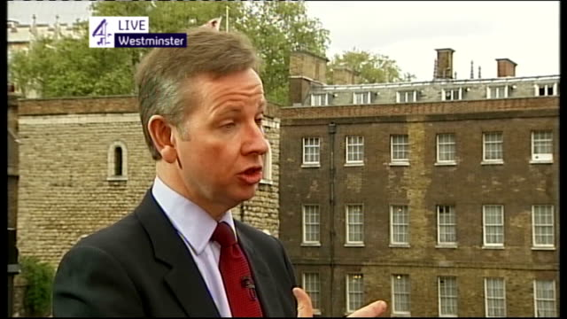 hung parliament fifth day talks ENGLAND London Westminster EXT Michael Gove MP LIVE interview SOT On trusting Nick Clegg / in the national interest...
