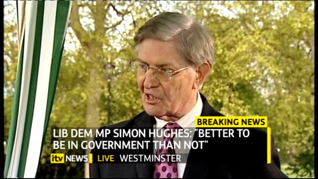 hung parliament fifth day talks ITV News Special PAB 1655 1830 London GIR INT Austin STUDIO Westminster College Green EXT Bill Cash MP interview with...