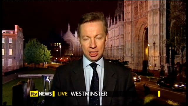 hung parliament fourth day talks gordon brown resigns as labour party leader live england london michael gove mp 2 way interview from westminster sot... - john major stock-videos und b-roll-filmmaterial
