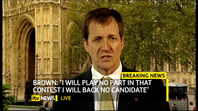hung parliament fourth day talks gordon brown resigns as labour party leader england london gir int alistair campbell 2 way interview from... - ゴードン ブラウン点の映像素材/bロール
