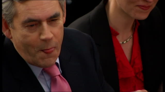 general election 2010: labour manifesto launch: pm and cabinet cutaways; gordon and sarah brown listening pull out high angle view of ellie gellard... - cabinet member stock videos & royalty-free footage