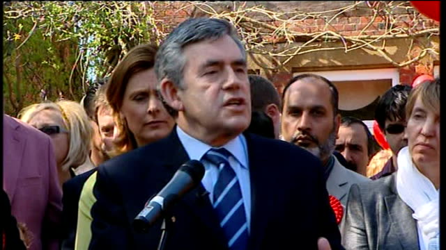 general election 2010: labour party campaign: gordon brown meets supporters in bedford; brown speech sot - people's concerns about your hospitals,... - politics and government stock videos & royalty-free footage