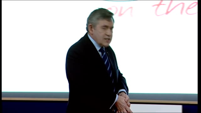labour party campaign gordon brown speech on 'global society' at open university brown speech sot talks about scepticism some people might feel but... - john f. kennedy us president stock videos and b-roll footage
