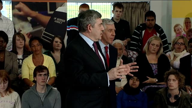 general election 2010: labour party: gordon brown on the campaign trail in oldham; gordon brown and jack straw question and answer session sot -... - game show stock videos & royalty-free footage