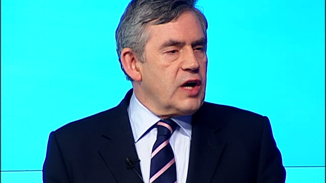 general election 2010: labour party: gordon brown press conference; england: london: int gordon brown mp press conference sot - the last week of the... - high speed photography stock videos & royalty-free footage