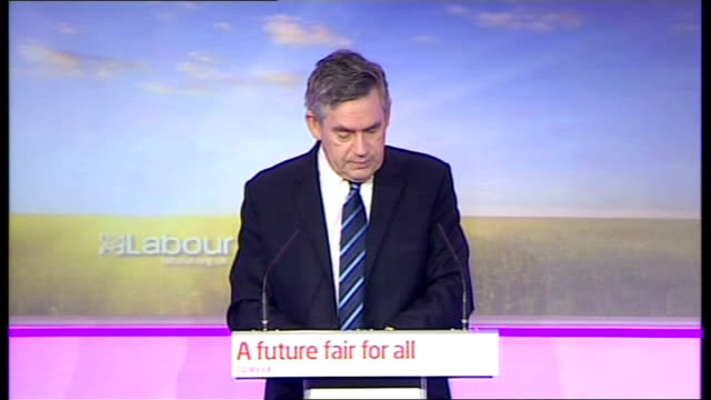 general election 2010: labour press conference; gordon brown press conference sot - tv debates have been great for the campaign/ never forget this is... - game show stock videos & royalty-free footage