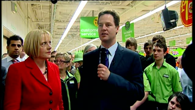 general election 2010: lib dem leader nick clegg walkabout and speech at asda harrogate; clegg speech continued sot - people crying out for something... - double chance stock videos & royalty-free footage
