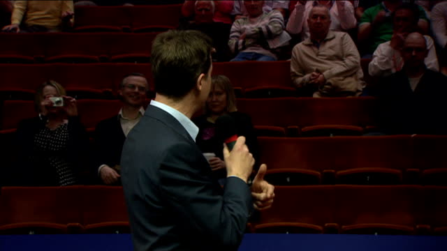liberal democrat campaign nick clegg addresses the audience at the world snooker championship in sheffield clegg greeting supporters sot announcer... - world championship stock videos & royalty-free footage