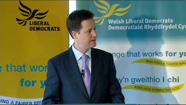 liberal democrat campaign nick clegg press conference in cardiff clegg speech sot vince cable who first proposed the idea of an investment bank… we... - newly industrialized country stock videos & royalty-free footage