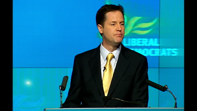 general election 2010: liberal democrats launch manifesto: nick clegg speech; nick clegg mp speech sot - step two. a fair chance for every child. i... - economy class stock videos & royalty-free footage