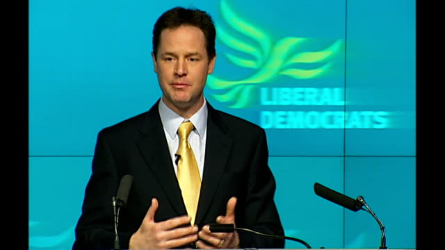 liberal democrats launch manifesto nick clegg speech nick clegg qa session sot asked how many people won't go to prison who would have under the... - fee stock videos and b-roll footage