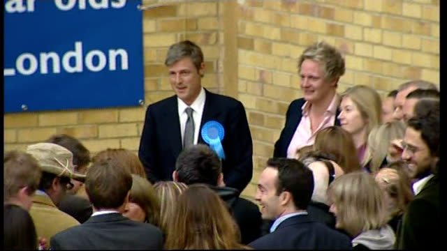 More than 200 new MPs elected LIB London Richmond Park Zac Goldsmith and supporters celebrating at count * * FLASH