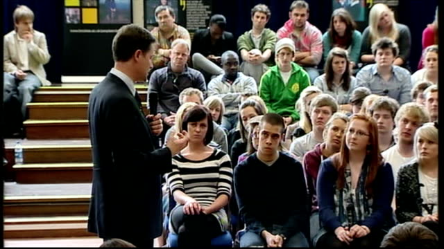 general election 2010: nick clegg giving speech at oxford brookes university; q & a session clegg sot - nhs is too centralised / want to protect... - bureaucracy stock videos & royalty-free footage