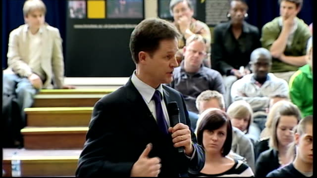 Nick Clegg giving speech at Oxford Brookes University Q A session Clegg SOT We have always been against tuition fees discourage people from going to...