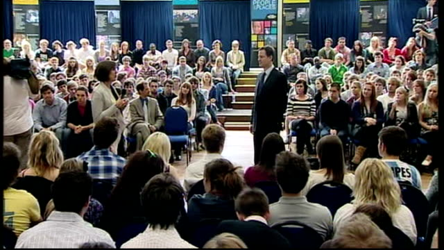 nick clegg giving speech at oxford brookes university ***flash england oxford oxford brookes university int nick clegg enters hall to applause /... - after life stock videos & royalty-free footage