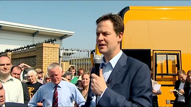 general election 2010: nick clegg in norwich; clegg q&a session continued q: renewable energy clegg sot a: places like tyneside dockyards are perfect... - 真鋳点の映像素材/bロール