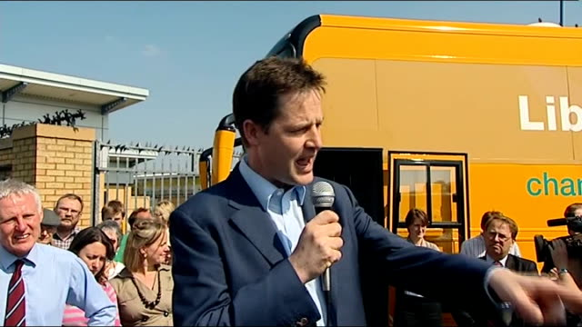 nick clegg in norwich nick clegg speech continued sot there are big distinctions on policies we are only party saying if you want fair taxes people... - paying taxes stock videos & royalty-free footage