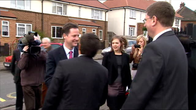 general election 2010: nick clegg on campaign trail in northampton; england: northamptonshire: northampton: ext supporters and press waiting outside... - northampton england stock videos & royalty-free footage