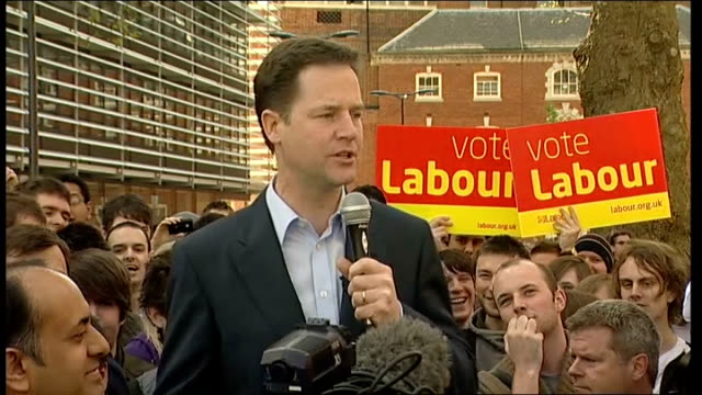 nick clegg speech at de montfort university nick clegg speech sot wonderful to be here/ pramjit and i were first campaigning together in leicester... - sack race stock videos & royalty-free footage